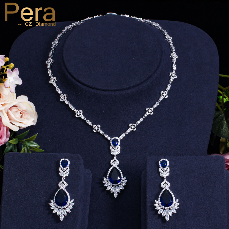 Pera Luxury Royal Marquise Cubic Zirconia Big Dangle Blue Tear Drop Necklace Set Women Wedding Banquet Jewelry Accessories J208Pera Luxury Royal Marquise Cubic Zirconia Big Dangle Blue Tear Drop Necklace Set Women Wedding Banquet Jewelry Accessories J208
