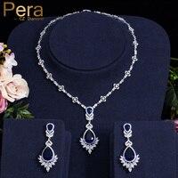 Pera Luxury Royal Marquise Cubic Zirconia Big Dangle Blue Tear Drop Necklace Set Women Wedding Banquet Jewelry Accessories J208