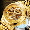Luxury Automatic Mechanical Wristwatches Dragon Genuine Leather Stainless Steel Band Men S Watch Waterproof Relogio Masculino