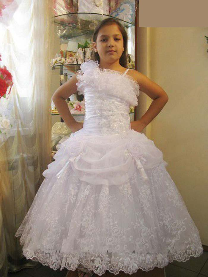 2019 New Lace A-Line   Flower     Girl     Dresses   with Appliques   Flowers   Floor-Length   Girls   Pageant Gown First Communion   Dresses   L123