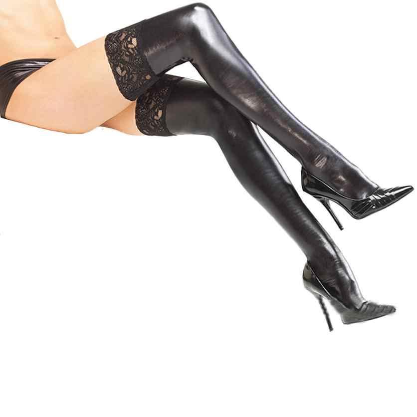 I ncredibleเซ็กซี่ผู้หญิงสบายต้นขาสูงถุงน่องหนังPUถุงน่องลูกไม้ยาวสไตล์ยอดนิยมของผู้หญิงถุงน่องHocok Soxs