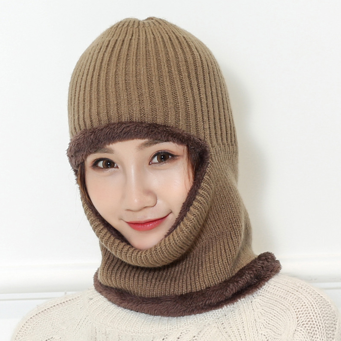Winter Wool Hat Balaclava Mask Multi Functional Cap Adult Beanies Thick Mask
