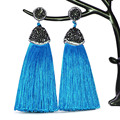 2019 Vintage Bohemian Crystal Long Silk Tassel Earring Women Rhinestone Charm Stainless Steel Dangle Drop Earrings Boho Jewelry