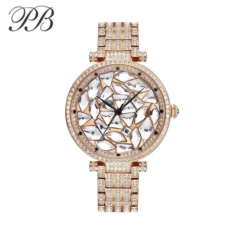 PB Princess Butterfly Fashion Luxury Sieviešu pulkstenis Žilbinošas kristāla zvana zelta pārklājumu kvarca ūdens izturīgs sieviešu pulkstenis HL607