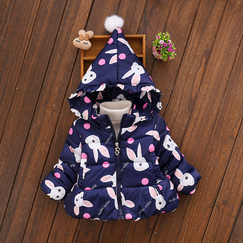 Winter Coats Kids Clothes 2017 New Children Clothing Cotton Girl Coat Jacket Fashion Rabbit Warm Outerwear Jackets 1-3years 2017 winter baby coat kids warm cotton outerwear coats baby clothes infants children outdoors sleeping bag zl910