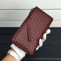 ISHARES classic Sheepskin weave women wallet genuine leather long purse zipper with strap handmade woven lambskin wallets IS1304
