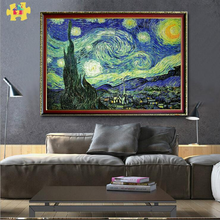 2017 new adults, 2000 pieces of world famous paintings, oil paintings, green card paper, starry puzzle, jigsaw puzzle, birthday adult puzzle 1500 pieces of paper puzzle 1000 pieces of world famous paintings landscape puzzles pressure reducing toys