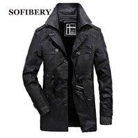 SOFIBERY larga chaqueta gruesa de los hombres calientes del mens chaquetas de cuero y abrigos de cuero revestimiento de lana de moda abrigo SJLR6693