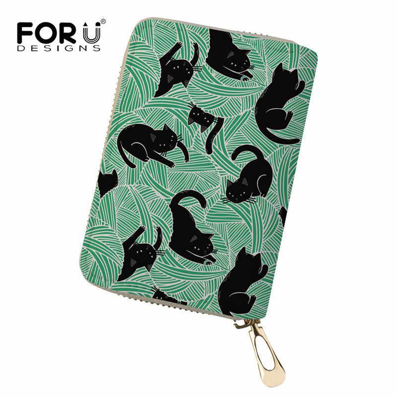 Portatarjetas FORUDESIGN Black Cat Wine con 55 ranuras de cuero para mujer, tarjetero pequeño de identificación para tarjetas de crédito, monedero de regalo para mujer, monedero