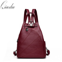 2019 Women Anti-theft Leather Backpacks Female Backpacks For School Retro Sac a Dos Femme Female School Shoulder Bags CE3081 cheap NONE Solid Softback zipper Polyester Below 20 Litre Arcuate Shoulder Strap Silt Pocket Casual Soft Handle Interior Slot Pocket Cell Phone Pocket Interior Zipper Pocket