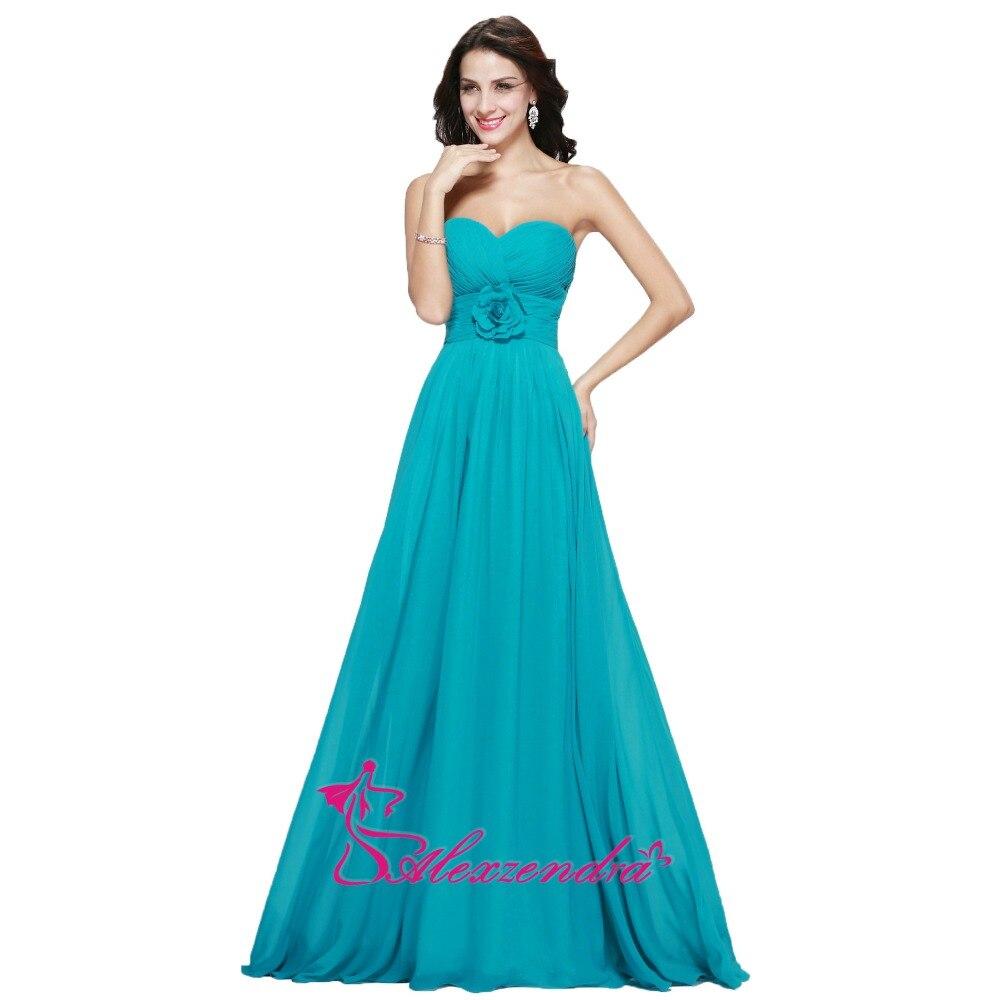Alexzendra синие дешевые простые цветы длинные шифоновые платья невесты вечерние платья для свадьбы - 3