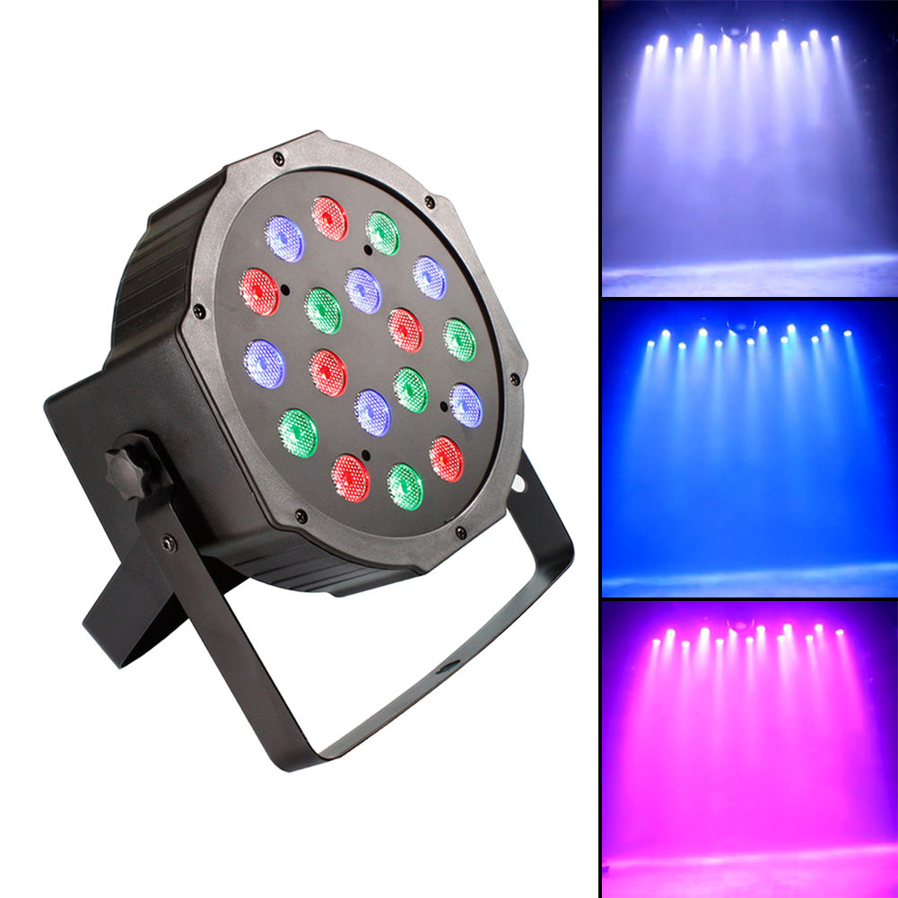 Professional LED Stage Lights 18 RGB LED DMX Stage Lighting Effect DMX512 Master-Slave Led Flat for DJ Disco Party KTV IR Remote