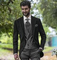 Nuovo arrivo one button nero smoking dello sposo groomsmen mens wedding abiti prom dress (jacket + pants + vest + tie) no: 193