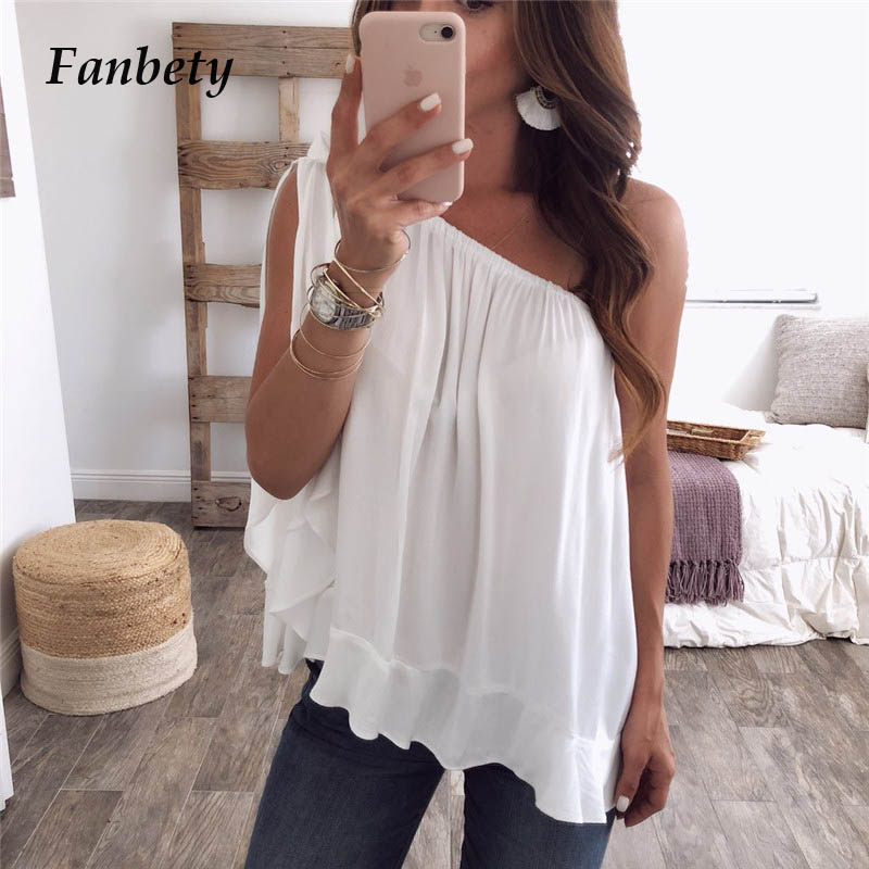 Fanbety Women Sexy One Hand Sleeve Chiffon Blouses 2019 Summer Elegant Skew Collar Bow Tie Blusa Lady Off Shoulder Beach Tops