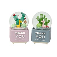 Snow Colored lights crystal ball music box Creative Giraffe Cactus Micro Landscape Crystal Ball Christmas new Year gift Decorate