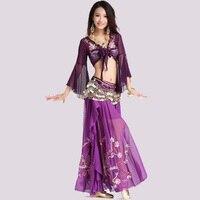 2017 Pour Oriental Costumes De Danse Du Ventre De Danse Femmes Costume Ensemble Diamant Brodé Top Jupes Chaîne Collier Boucles D'oreilles Anneau de Main