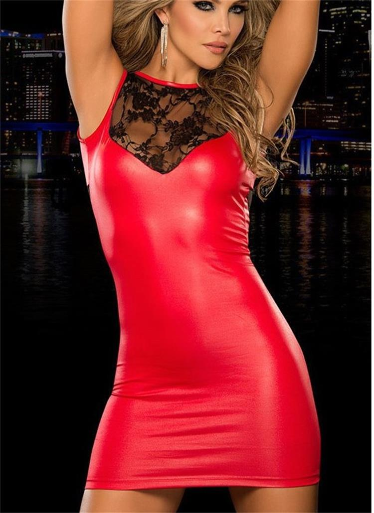 Hot Girl Faux Leather Sexy Lace Dress Latex Catsuit Bodysuit Pole Dancing Size S-XL