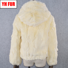 Casual Women Hooded Real Rex Rabbit Fur Coat Real Rex Rabbit Fur Jacket Girls Real Genuine Rex Rabbit Fur Short Hood Overcoat cheap Double-faced Fur Real Fur YH-FUR-051004 Thick (Winter) REGULAR Natural Color With Fur Hood Full Single Breasted Solid