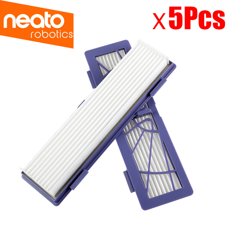 5Pcs Replacement HEPA dust filter for Neato BotVac 70e,75 80 85 series D5 Robotic Vacuum Cleaners Robot parts combo roller brush 1 hepa filter 5 for neato botvac 70e 75 80 85 robot vacuum cleaner parts replacement kit filter brush