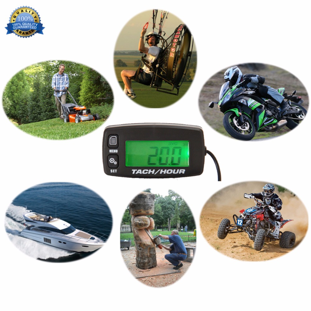 Backlight Hour Meter hourmeter Tachometer For Marine Boat ATV Snowmobile Generator Mower outboard UTV motocross in Instruments from Automobiles Motorcycles
