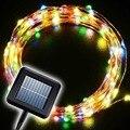 2x Solar Patio de Luces de Cadena de Alambre de Cobre 10 m 100 LED Al Aire Libre A Prueba de Agua Caliente/Fría Blanco Coloridas Luces de Hadas Decoración de navidad Decoración de La Lámpara