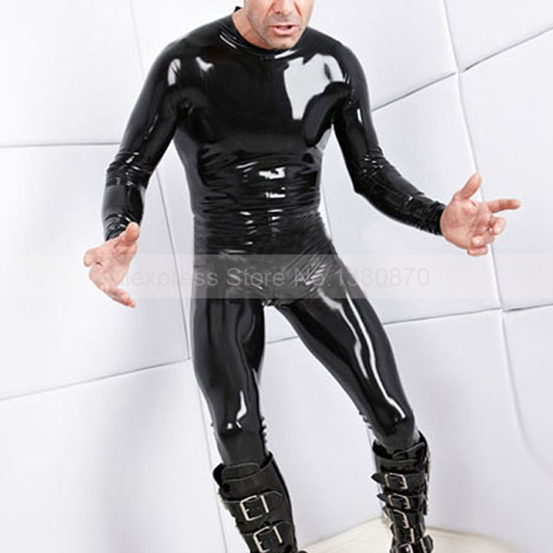 Back Zipper Men Latex Bodysuit Zentai Catsuit Rubber Costumes with Fe'e't S LCM126