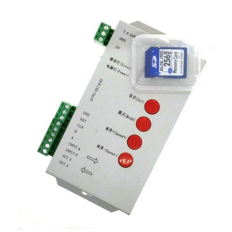 New T-1000S SD Card LED Controller Pixel Led Control Pixel Controller Support DMX512 ws2811 RGB Controller hot sale dmx512 wireless sd card controller support 2048 pixels
