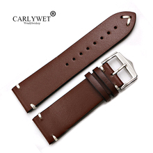 купить 20 22mm Newest Men Woman Genuine Cowhide Leather Brown VINTAGE Wrist Watch Band Strap Belt Silver Polish Pin Buckle Best Gift по цене 700.16 рублей
