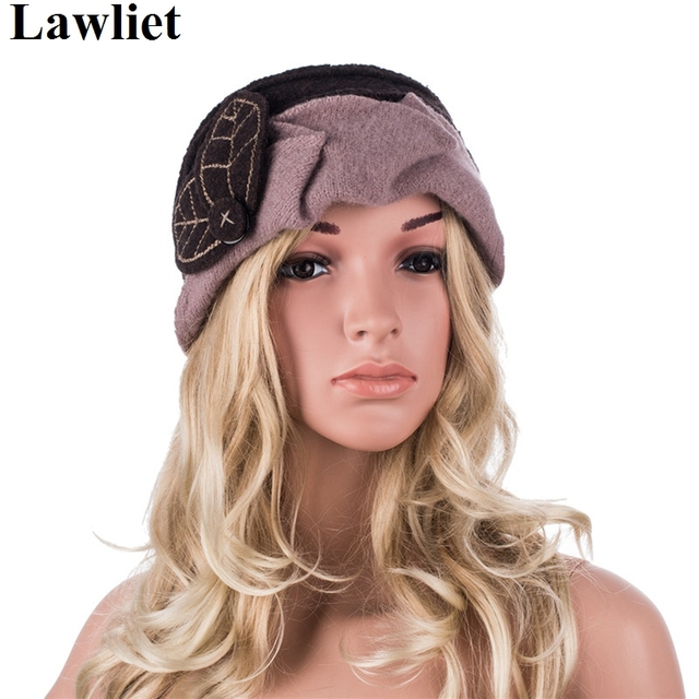 A375 2016 New K Fancy Brown Top With Khaki Trim Winter cloche women winter hats skullies beanies