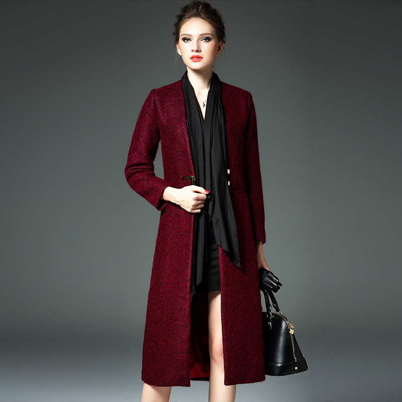 Europe 2015 autumn winter wool red long coat women elegant manteau ...