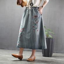 Summer Ethnic Style Vintage Denim Skirt Floral Embroidered Elastic Waist Pocket Loose Casual Jeans Skirt Woman Plus Size Skirt plus size floral embroidered mesh skirt