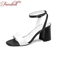 FACNDINLL Shoes 2018 Fashion Summer High Heels Shoes Woman Gladiator Sandals Black Open Toe Square Heel