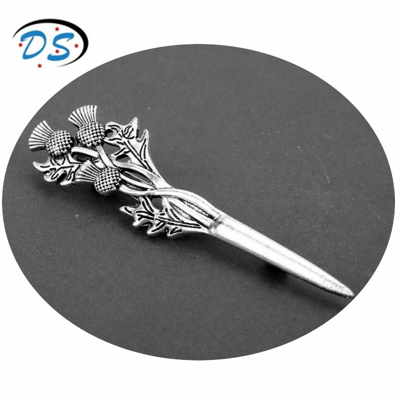 dongsheng jewelry Vintage Brooches Pins Scottish Thistle Kilt Brooch or Cloak Pin Female Accessories badges broche