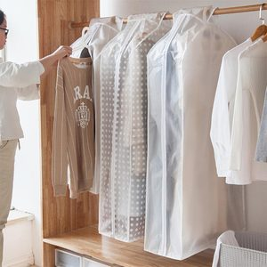 1pcs Tidy Transparent Dust Cover Bags Non-woven Suit Jacket Coat Clothes Storage Bag Bedroom Closet Organizer