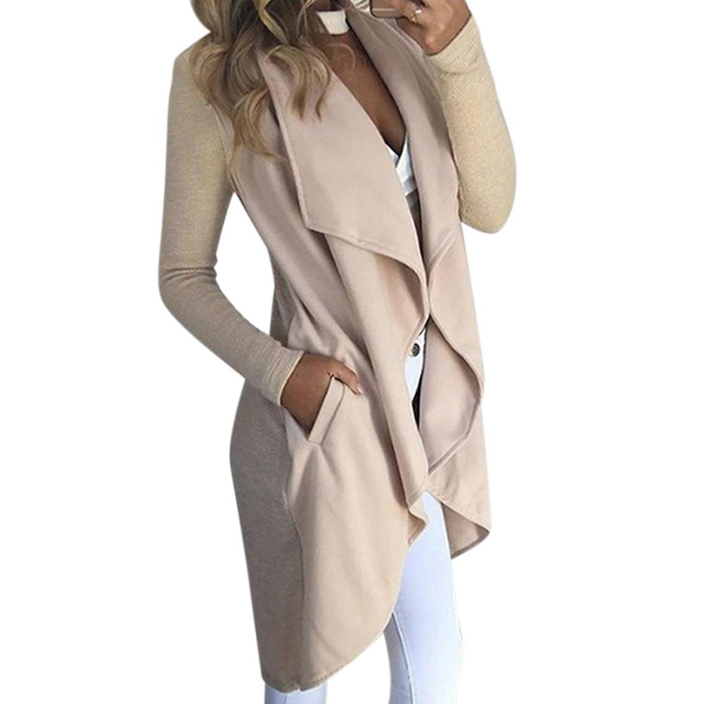 MISSKY 2019 New Spring Autumn Women's   Trench   Lapel Collar Solid Color Long Sleeve Slim Fit Wind Coat with Pockets Female Tops