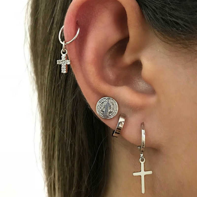 New Fashion Popular Personality Women's Cross Humanoid Simple Earrings Combination Hot Sale Jewelry Wholesale