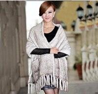 European Design Elegant Womens Winter Luxury Genuien Mink fur Wedding cape With tassel High fashion poncho hijab shawls