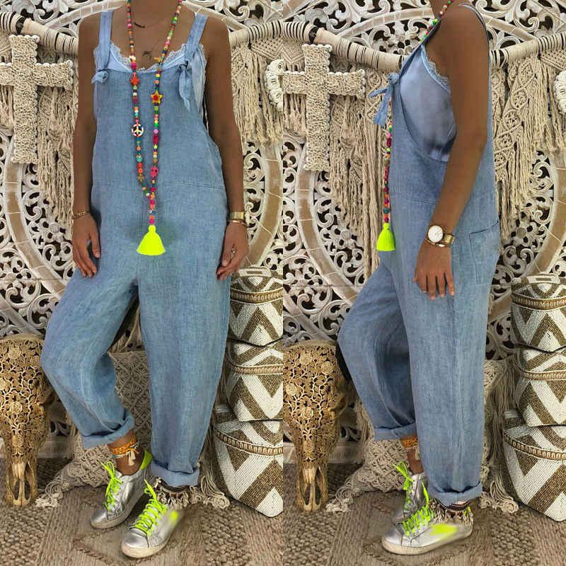 Mode Vrouwen Mouwloze Denim Jeans High Street Playsuits Overalls Bandjes Jumpsuit Romper Rechte Broek NIEUWE Plus Size S-2XL