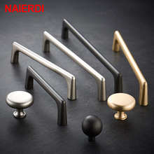 NAIERDI Solid Zinc Alloy Pearl Gray Gold Cabinet Handles Drawer Knobs Kitchen Cupboard Door Pulls Furniture Handle Hardware(China)