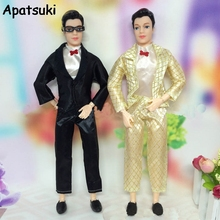 1SET Handmade Doll Clothes For Ken Male Doll Business Suit With White Shirt For Barbie's Boy Firend Doll Accessories