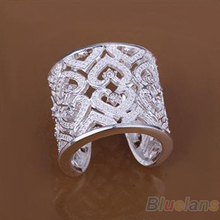 Fashion Hollow Solid Silver Plated Crystal Rings Wide Band Opening Ring 00XW