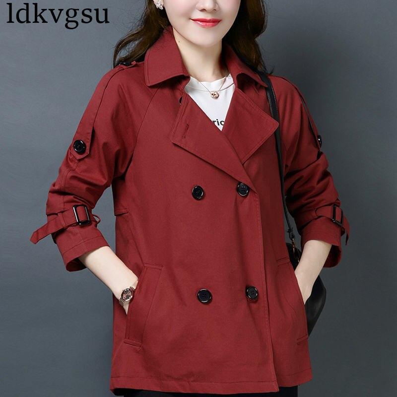 fashion Short Coat Female 2019 Spring Autumn Jacket New Korean Large Size 4XL Casual Solid cloak