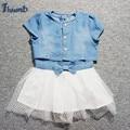 Thumb Lovely Denim Baby Girls Dresses 2Pcs Patchwork Lace Short Sleeve Dress and Denim Jacket Short Coat Bow Girls Clothing