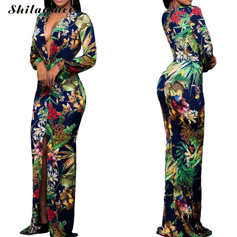 Buy Cheap long sleeve dress winter women christmas apparel tropical floral print girls Mother of Bride long maxi bodycon club party dress