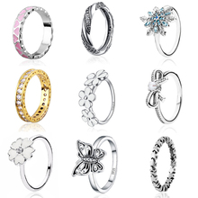 9 Style 1 Pcs Women 925 Silver Rings Jewelry Snowflake Heart Flower Gold Leaf Crystal Bow Ring for