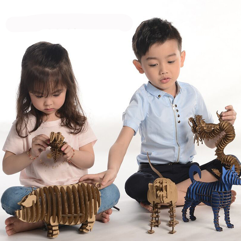 2017 new 3D Puzzle Animal Educational Papercraft Cardboard Art Craft Paper Model DIY Kids Toys