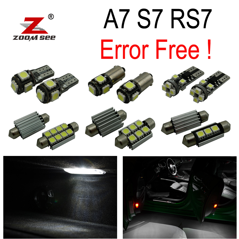 16pc x canbus Error Free  for Audi A7 S7 RS7 C7 Quattro (2011-2017) LED Lamp Interior Reading Map Light Kit Package 18pc canbus error free reading led bulb interior dome light kit package for audi a7 s7 rs7 sportback 2012