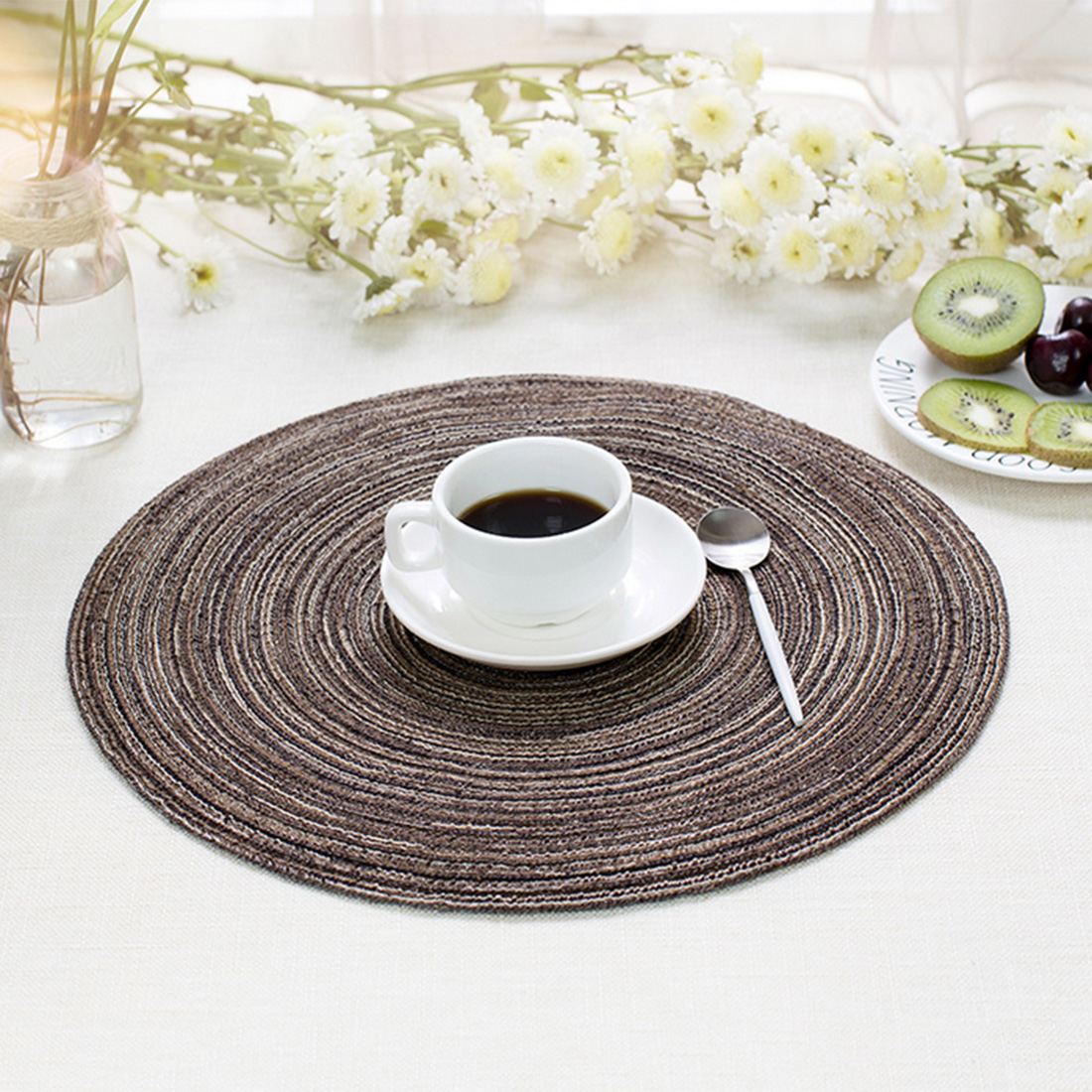 iTECHOR Placemat Creative Woven Western Table Mat Round Placemats for Table Heat Resistant Coffee Placemat