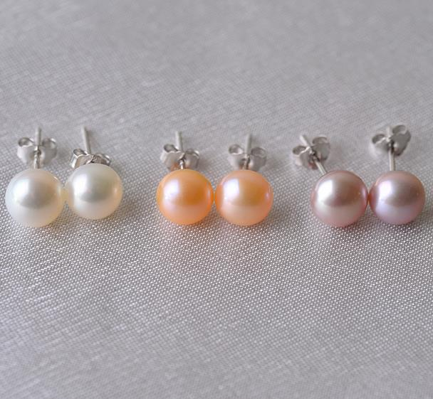 Natural Pearl Earrings 100 Real Freshwater Earring 925 Silver Jewelry Perfect Lady S Birthday Party In Stud From