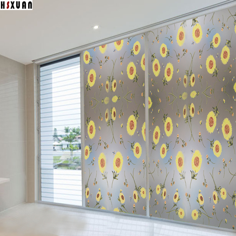 2016 New Flower And Erfly Static Cling Decorative Window Film Stained Gl Vinyl 45x1000cm